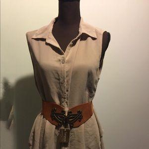 NWT Bronze Filigree Belt w/elastic back
